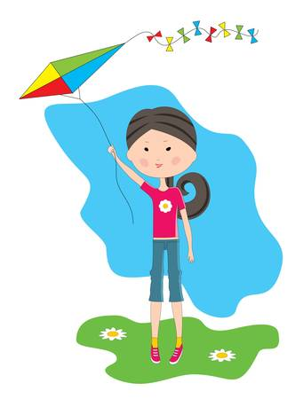Cartoon the girl with a kite Vector