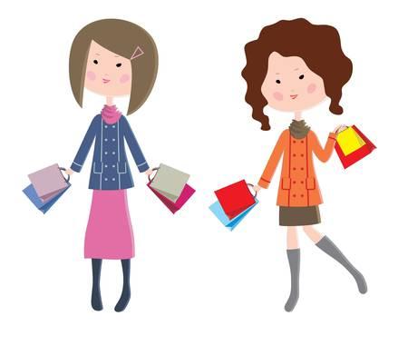 dibujos animados de mujeres: Dos mujeres de dibujos animados con los paquetes