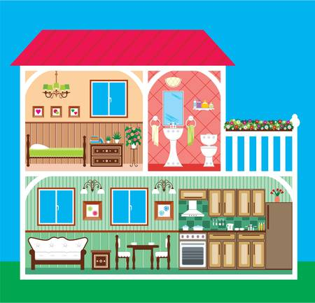 House in a cut Stock Vector - 15833880
