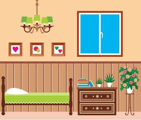 bedroom wall: Living room Illustration