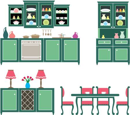 Set of kitchen furniture Stock Vector - 16034319