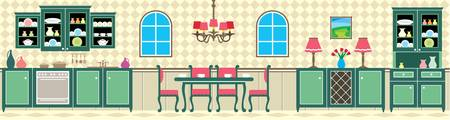 kitchen counter: Dining room and kitchen Illustration