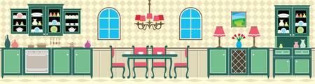 kitchen studio: Dining room and kitchen Illustration