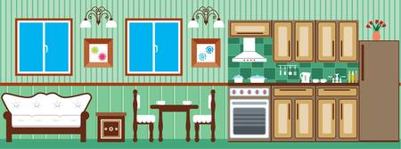 kitchen studio: Dining room and kitchen Illustration