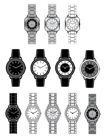 wristwatch: Set of black icons with the image of a female watch