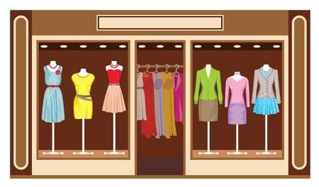 Boutique Women s kledingwinkel Vector Illustratie