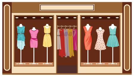 Boutique  Women s clothing shop Stock Vector - 16194838