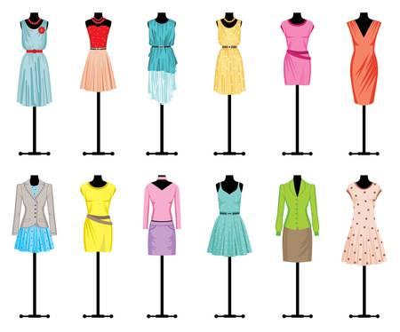 moda casual: Maniqu�es con ropa de mujer s Vectores