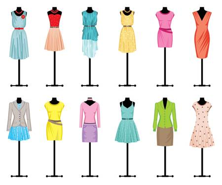 fashion boutique: Mannequins with women s clothing Illustration