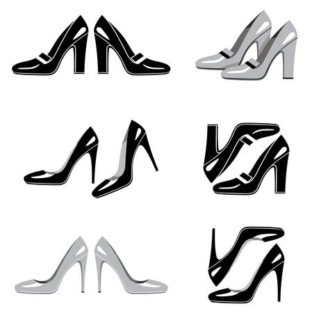 Set of icons of women s shoes Vector