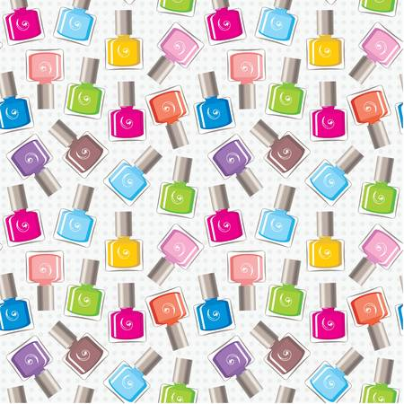 Seamless nail polish pattern Illustration