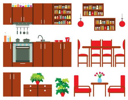 Set of kitchen furniture Stock Vector - 16439463