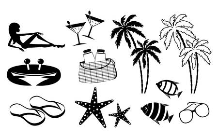 Set of icons of summer holiday on the coast Stock Vector - 16439464