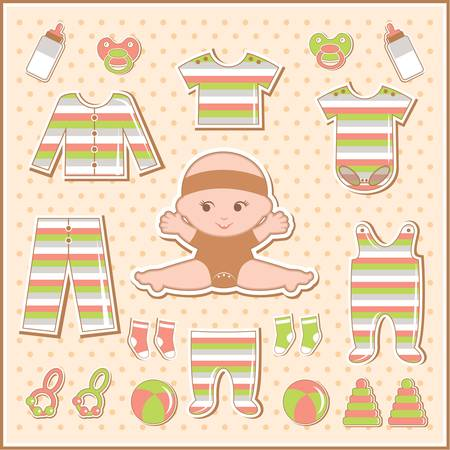 babys dummies: Scrapbook elements with baby clothes Illustration