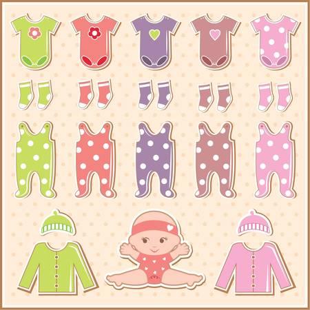 Scrapbook elements avec des vêtements de bébé