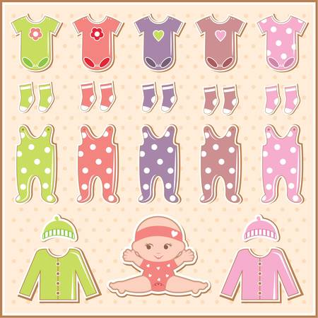 baby romper: Scrapbook elements with baby clothes Illustration