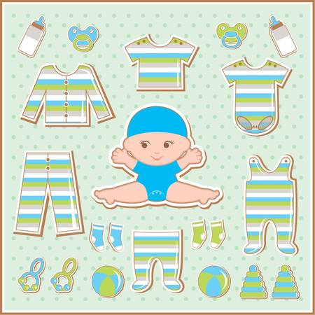striped vest: Scrapbook elements with baby clothes Illustration