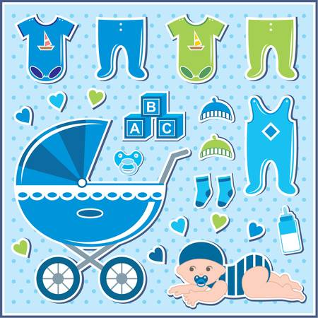 romper suit: Set of baby boy icons