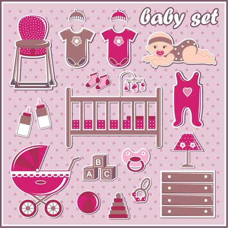 romper suit: Set of baby girl icons Illustration