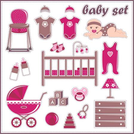 baby in suit: Scrapbook elements with baby girl things Illustration