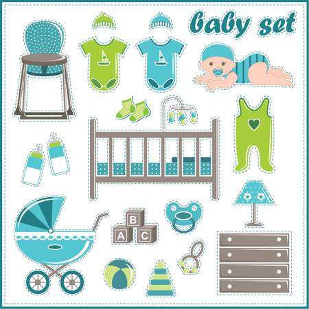 dummies: Scrapbook elements with baby boy things Illustration