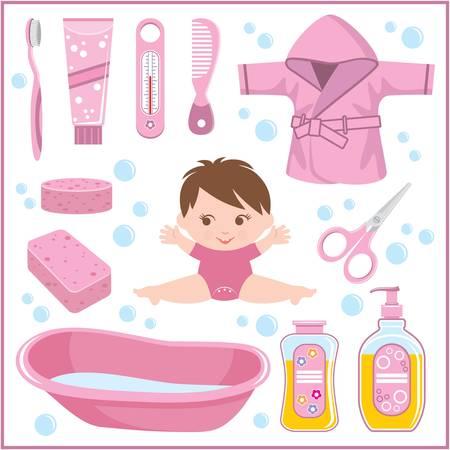 hairbrush: Set of children s things for bathing