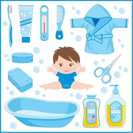 bathrobe: Set of children s things for bathing