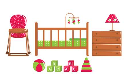 Children s furniture and toys Vector