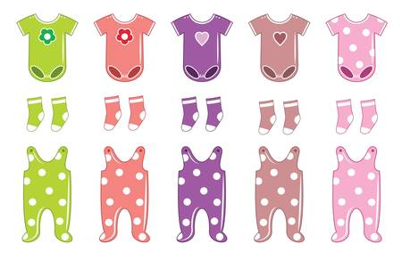 baby romper: Set of clothes for a baby Illustration