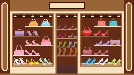 tienda de zapatos: Tienda de calzado Vectores