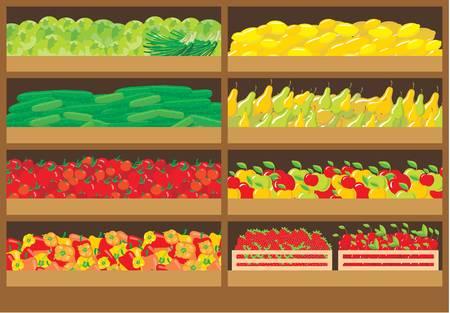 bancarella: Vegetable negozio Vettoriali