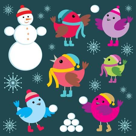 Set of winter birds and snow man Stock Vector - 16825765