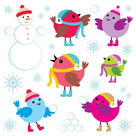 Set of winter birds and snow man Illustration