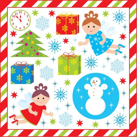 Scrapbook elements with with christmas and new-year characters Vector