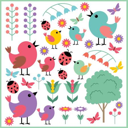 with sets of elements: Scrapbook elements with birds and insects Illustration
