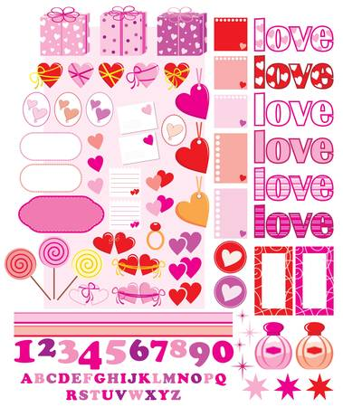 Scrapbook elements with love characters and hearts Vector