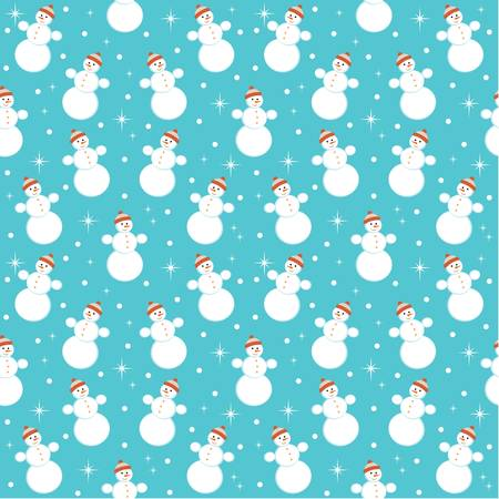 Seamless snowmans pattern Vector