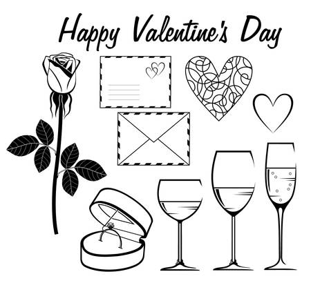 Image set for a card for Valentine's Day in black and white. Stock Vector - 17016775