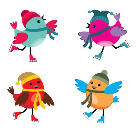 ice skates: Image of cartoon birds that are engaged in skating. Illustration