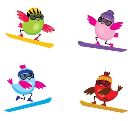 Image of cartoon birds that are engaged in skiing. Stock Vector - 17016773