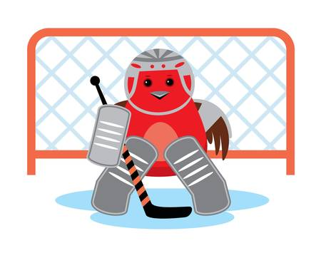 hockey skates: Image of bird keeper hokeynoy team against the gate.