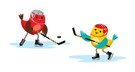 Image of birds playing in a hockey stick and puck. Vector
