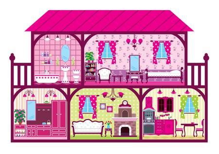 innen: Haus f�r die M�dchen in einem Schnitt in pink. Illustration