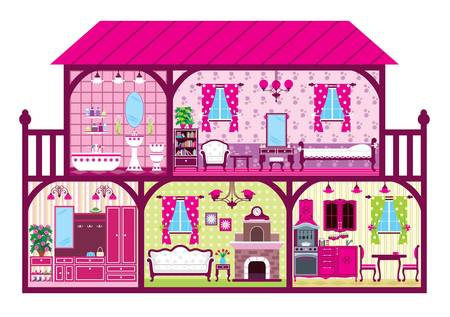 House for the girl in a cut in pink. Vector