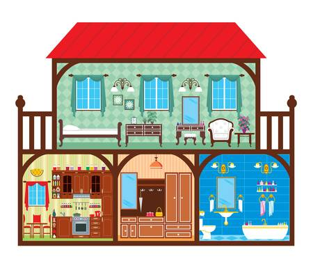 balcony view: House in a cut which depicts the living rooms.