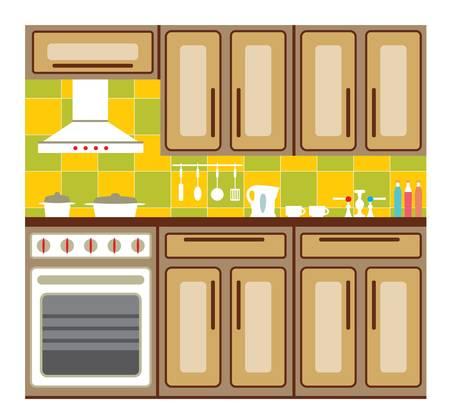 Kitchen interior with elements of design and kitchen accessories. Illustration