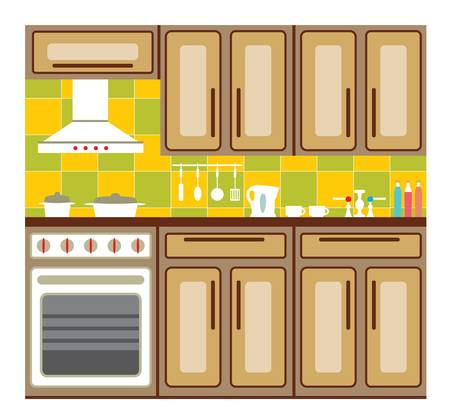 lifestyle dining: Kitchen interior with elements of design and kitchen accessories. Illustration