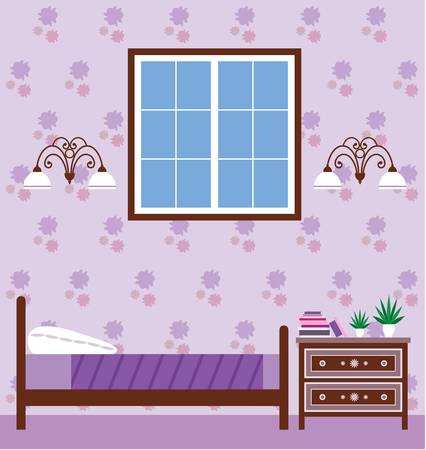 bedroom wall: Image of interior bedroom with a bed and a cupboard.
