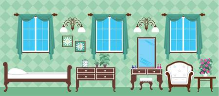 Image of interior bedroom with a bed and a cupboard. Vector