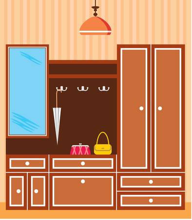 Image of interior closet in the hallway with accessories. Vector
